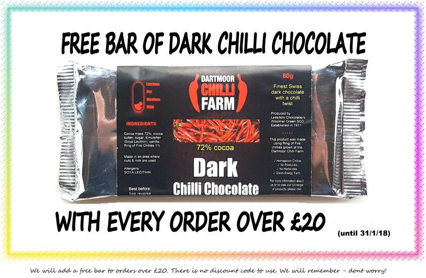 free chilli chocolate on orders over £20 offer