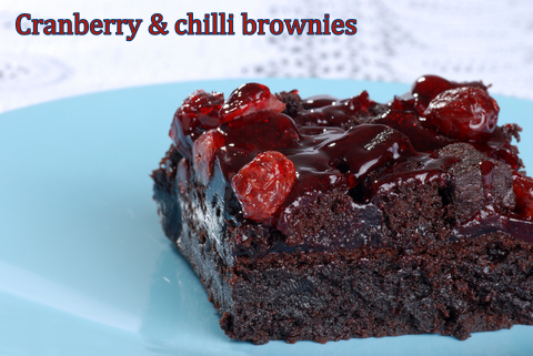 Cranberry chilli brownies