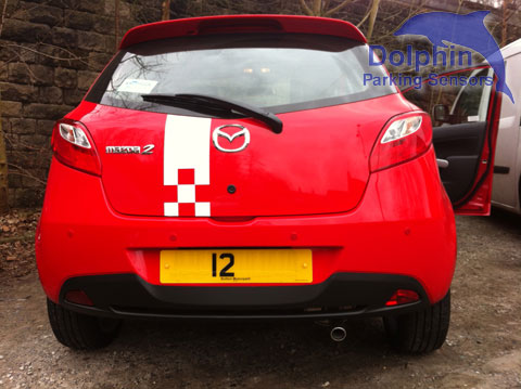 Mazda2 with red sensors