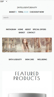 IntelligentBeauty Mobile Homepage