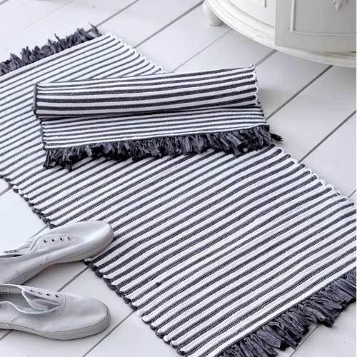 Grey Stripey Bath Mat
