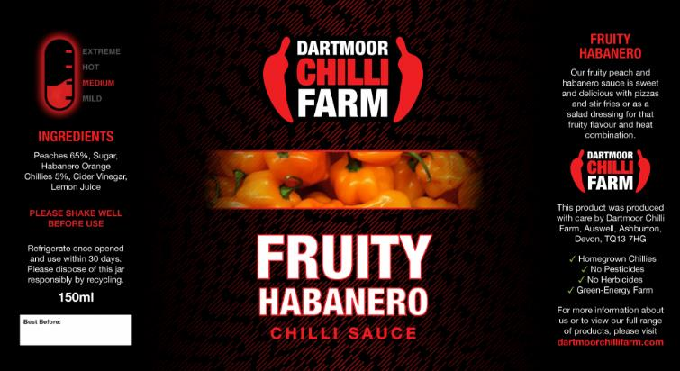 Fruity Habanero medium  sauce from Dartmoor chilli farm