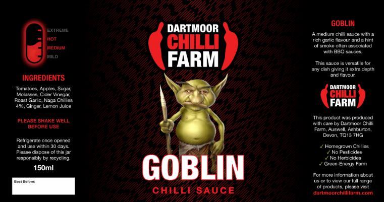 Dartmoor goblin medium sauce from Dartmoor chilli farm