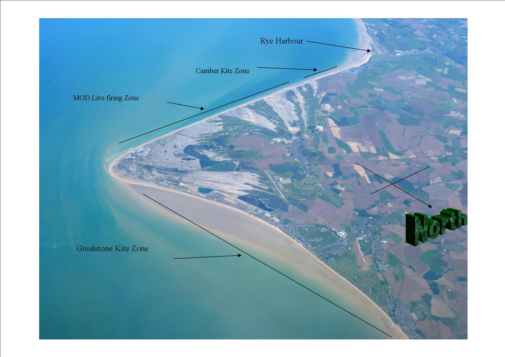 Camber and Greatstone kitesurfing zones