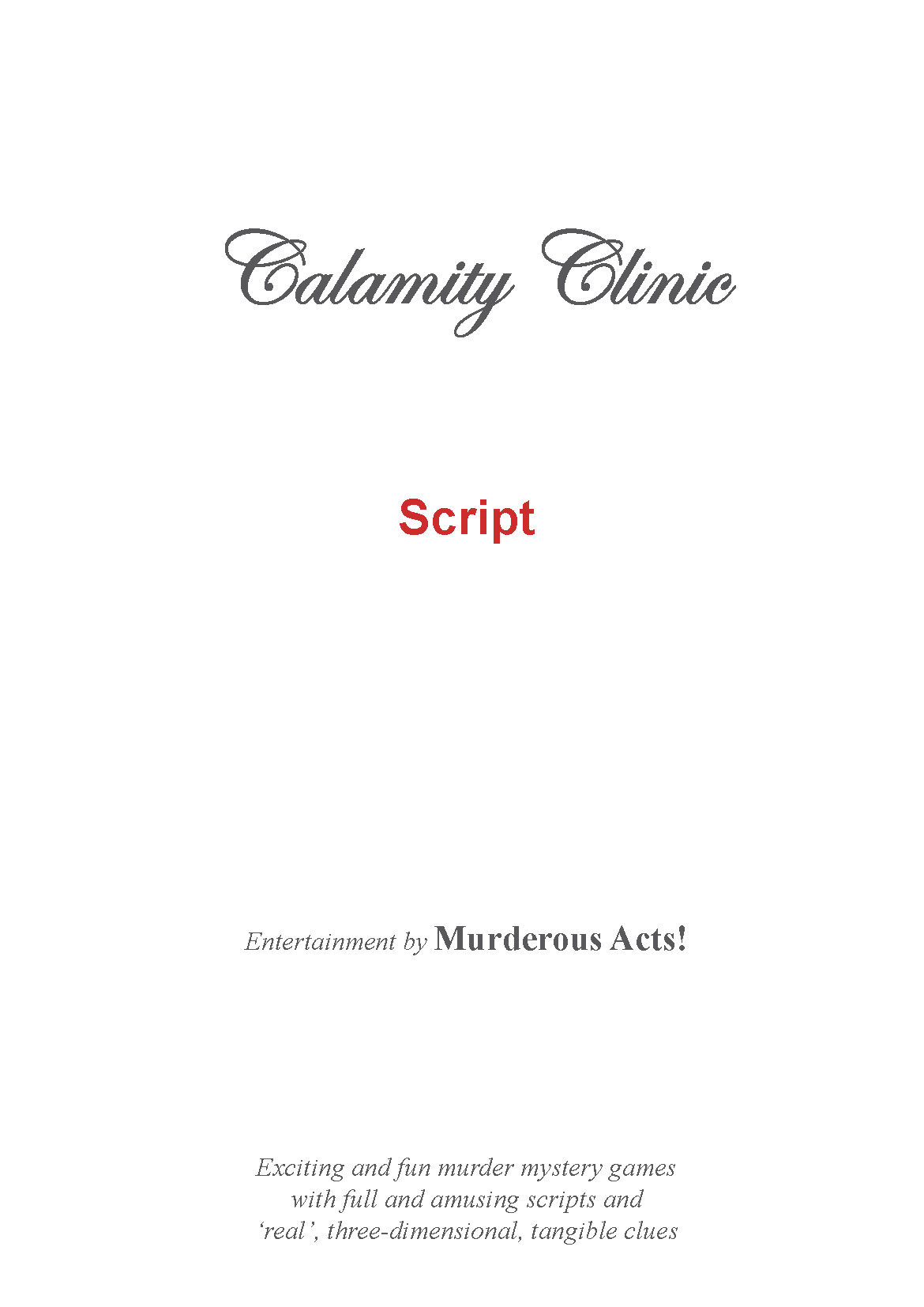 Cosmetic clinic murder mystery game script preview