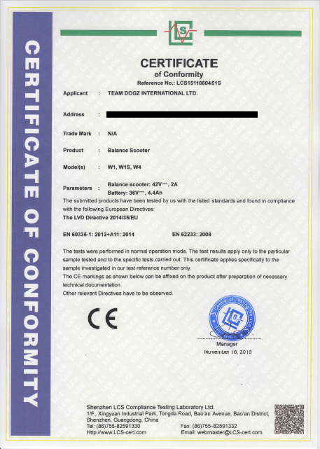CE Electrical Safety Certificate