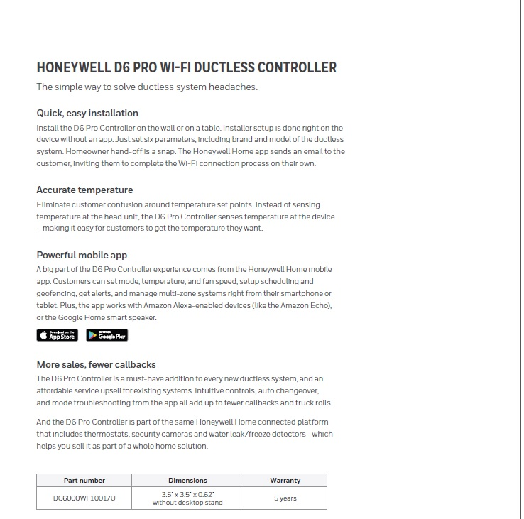 Smart Wifi Controller for Ductless Mini Splits Honeywell D6 PRO