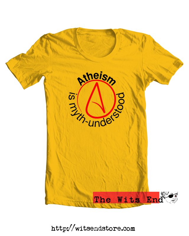 Atheism is Myth-Understood w/Atheist symbol example tee shirt