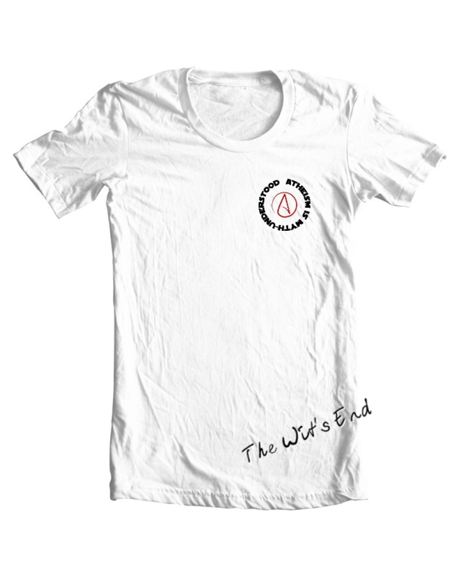 Atheism is Myth-Understood w/Atheist symbol pocket version example tee shirt