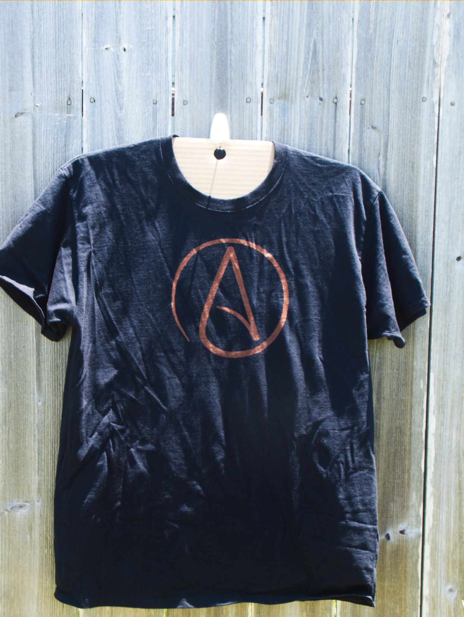 Atheist symbol discharge tee shirt example