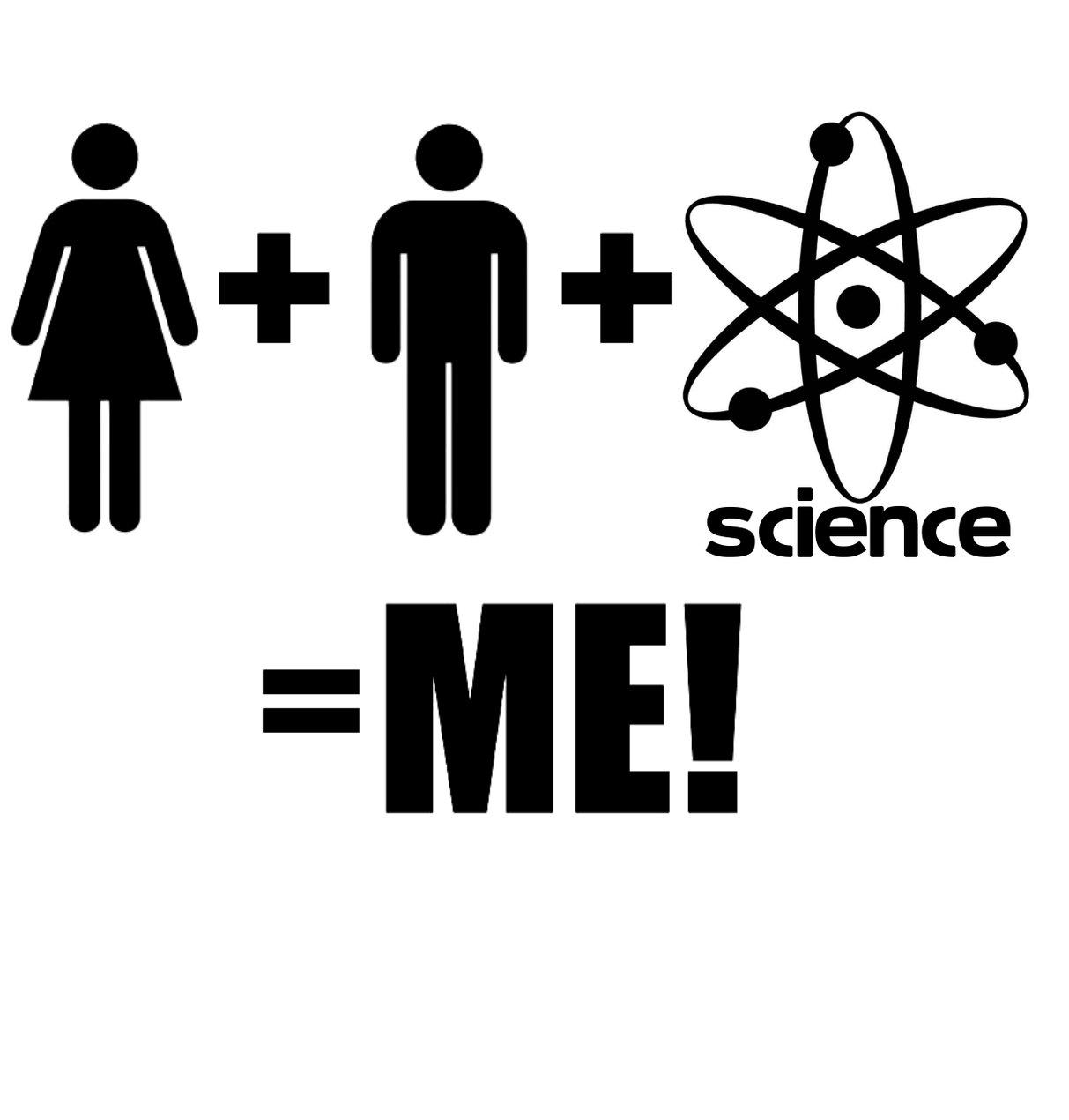 Mommy plus daddy plus science equals me (with atom symbol) onesie design