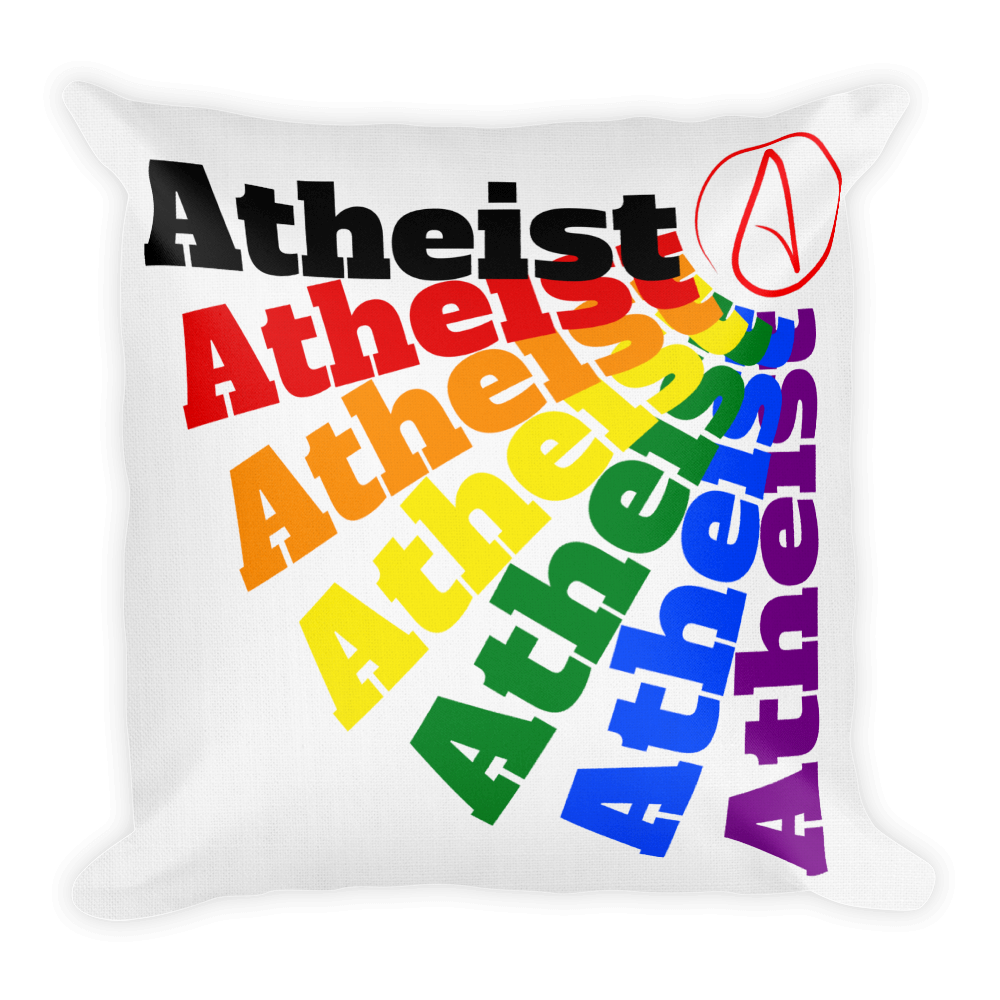 Premium Throw Pillow Square Rainbow Atheist with Atheist Symbol