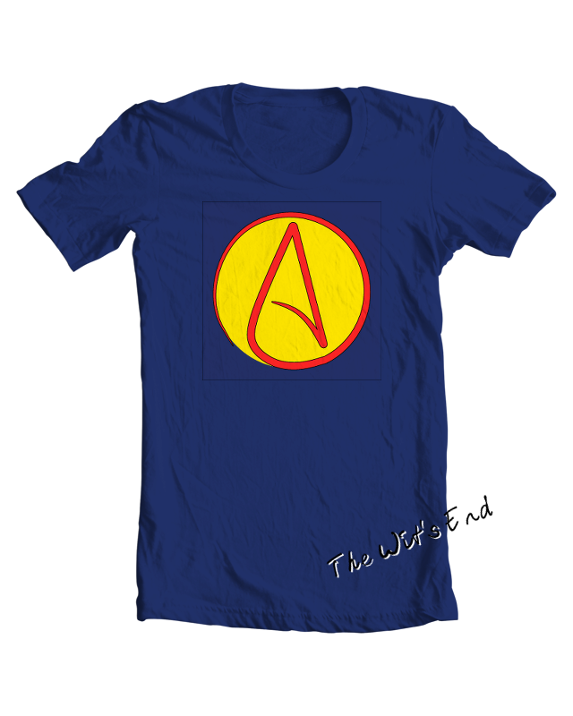 Atheist super hero tee shirt example