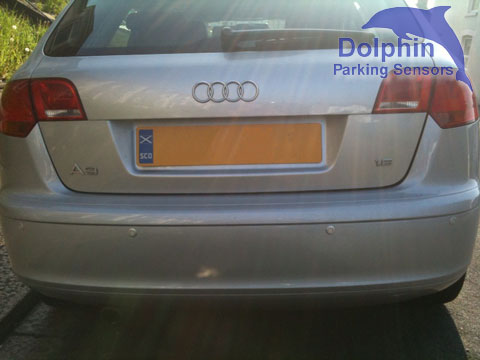 Audi A3 with parking sensors fitted in to the rear bumper