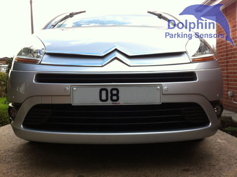 Front of Citroen C4 in silver with parking sensors