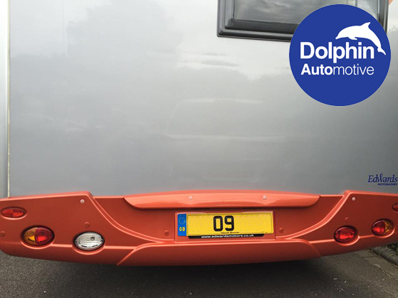 Edwards motorhome installed with parking sensors in the rear bumper