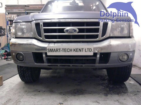 front of ford ranger with parking sensors installed - installation by colin of smart tech kent