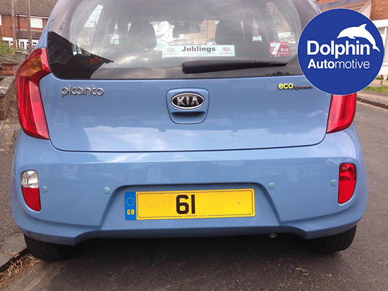 light blue parking sensors on a Kia Picanto