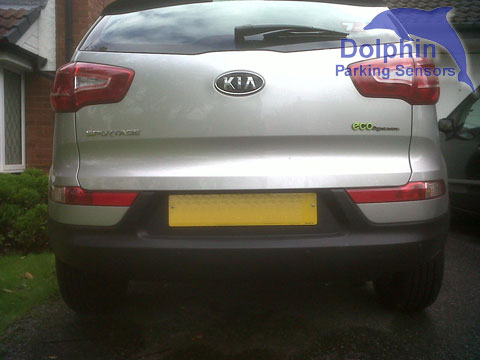 Kis sportage with sensors installed in to the bumper