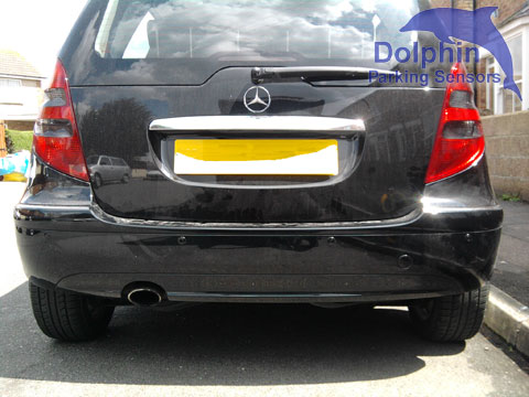 Mercedes A-Class with gloss black parking sensors on the rear