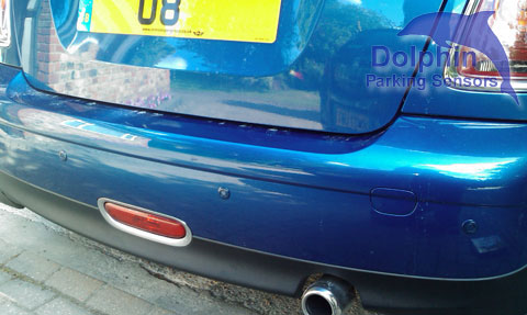 Mini Cooper with sea blue parking sensors