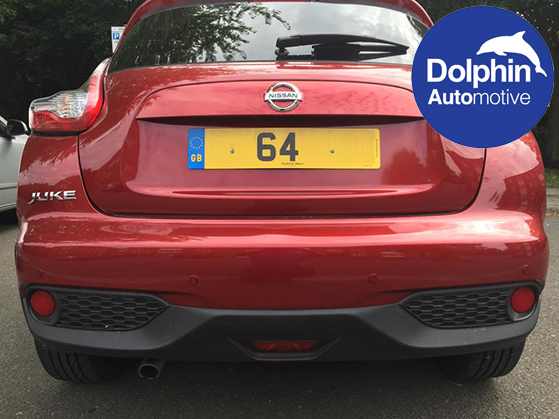 Rear View of the Nissan Juke with the custom sprayed parking sensors