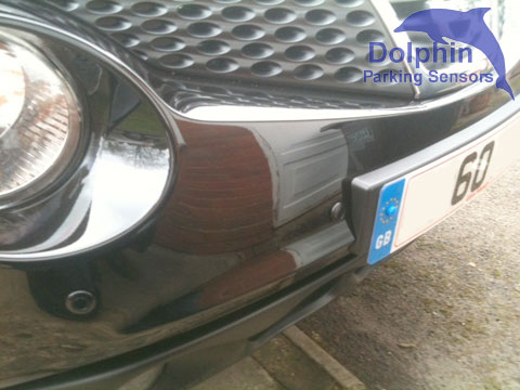 sensors installed either side of number plate on the front of the car