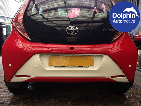 Toyota Aygo with white parking sensors