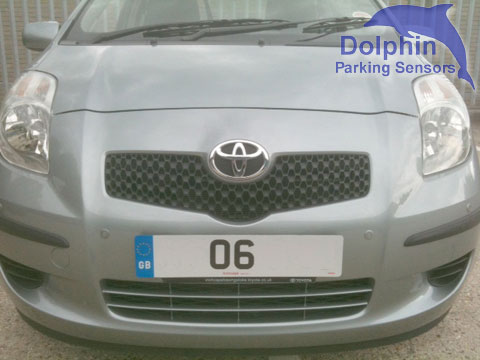 Silver sensors on the front of a Yaris