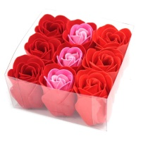 Set of 9 Soap Flowers Red Roses