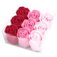 Set of 9 Soap Flowers Pink Roses