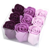 Set of 9 Soap Flowers Lavender Roses