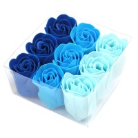 Set of 9 Soap Flowers Blue Wedding Roses