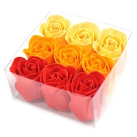 Set of 9 Soap Flowers Peach Roses