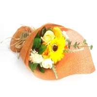 Standing Soap Flower Bouquet - Orange