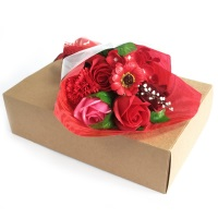 Red Hand Soap Flower Bouquet in a Box