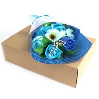 Blue Hand Soap Flower Bouquet in a Box