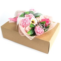 Pink Hand Soap Flower Bouquet in a Box