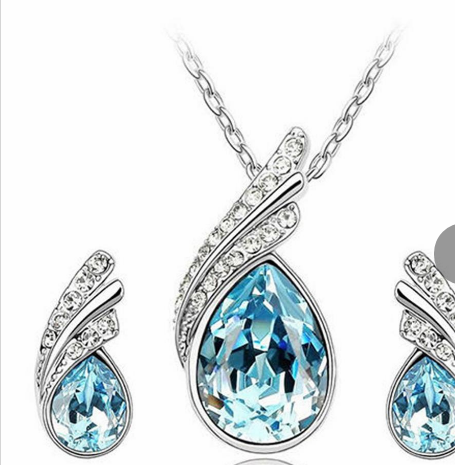 4.5 Necklace fashion elegant jewelry for women water drop gemstone crystal leaf silver plated necklace earring set